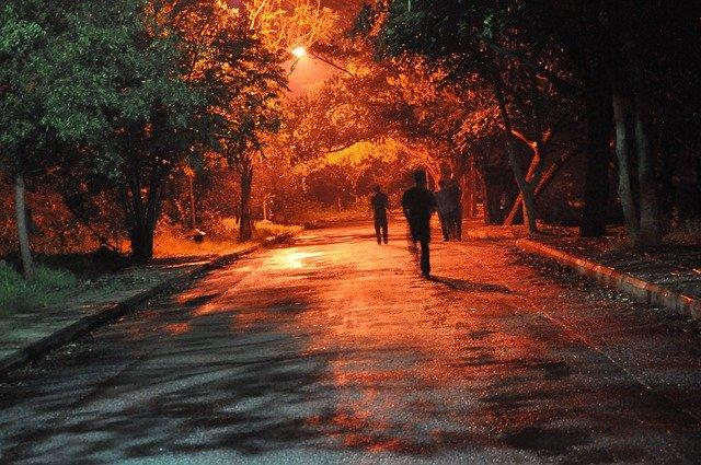 3体の人影が見える林道